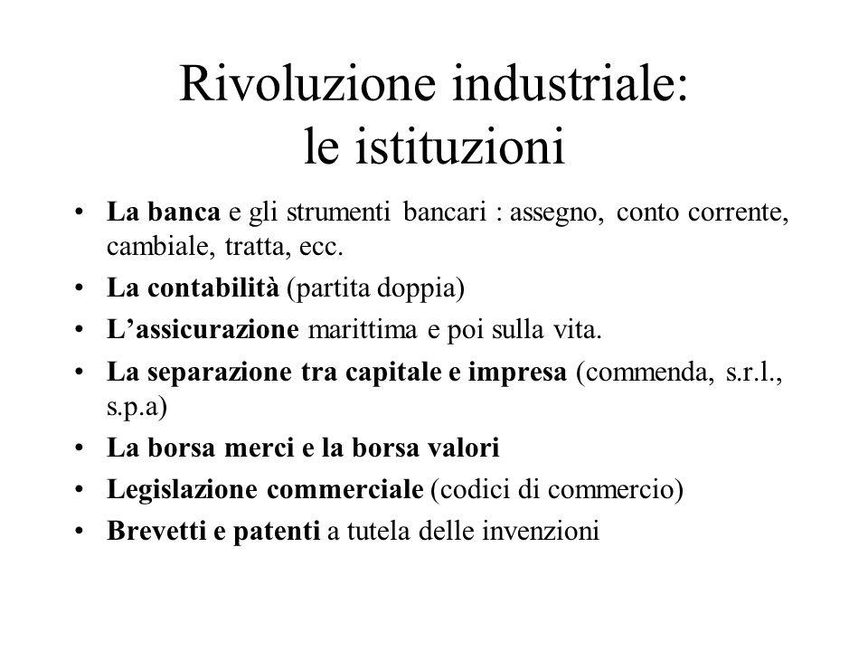 Rivoluzione industriale: le istituzioni