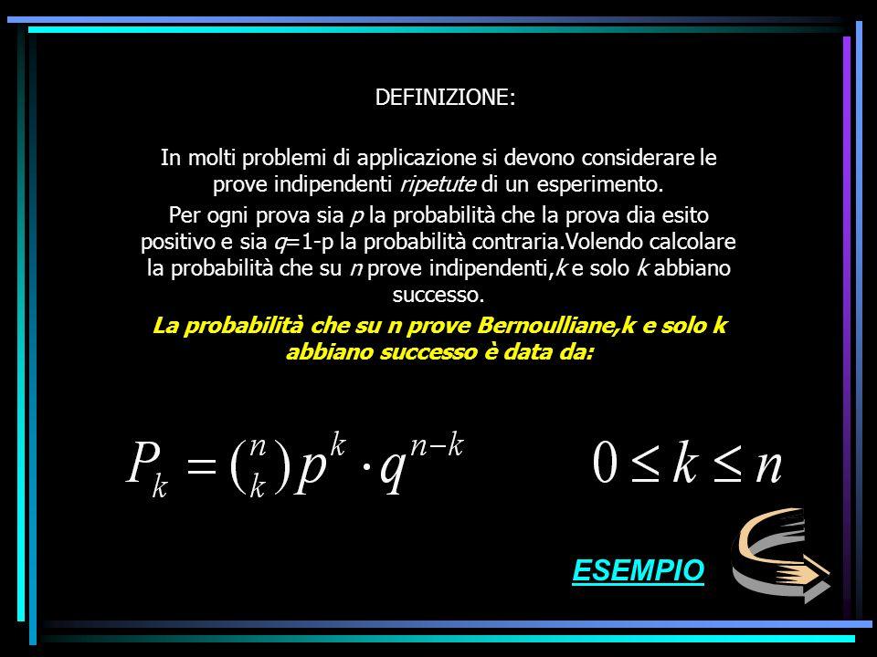 DEFINIZIONE: In molti problemi di applicazione si devono considerare le prove indipendenti ripetute di un esperimento.