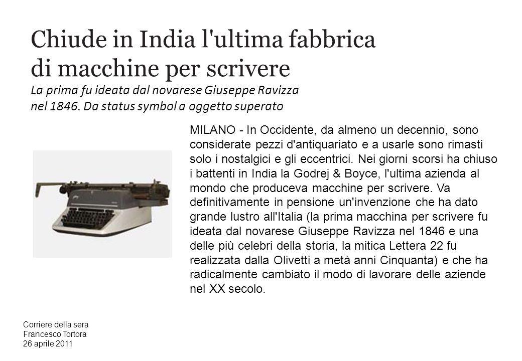 Chiude in India l ultima fabbrica di macchine per scrivere