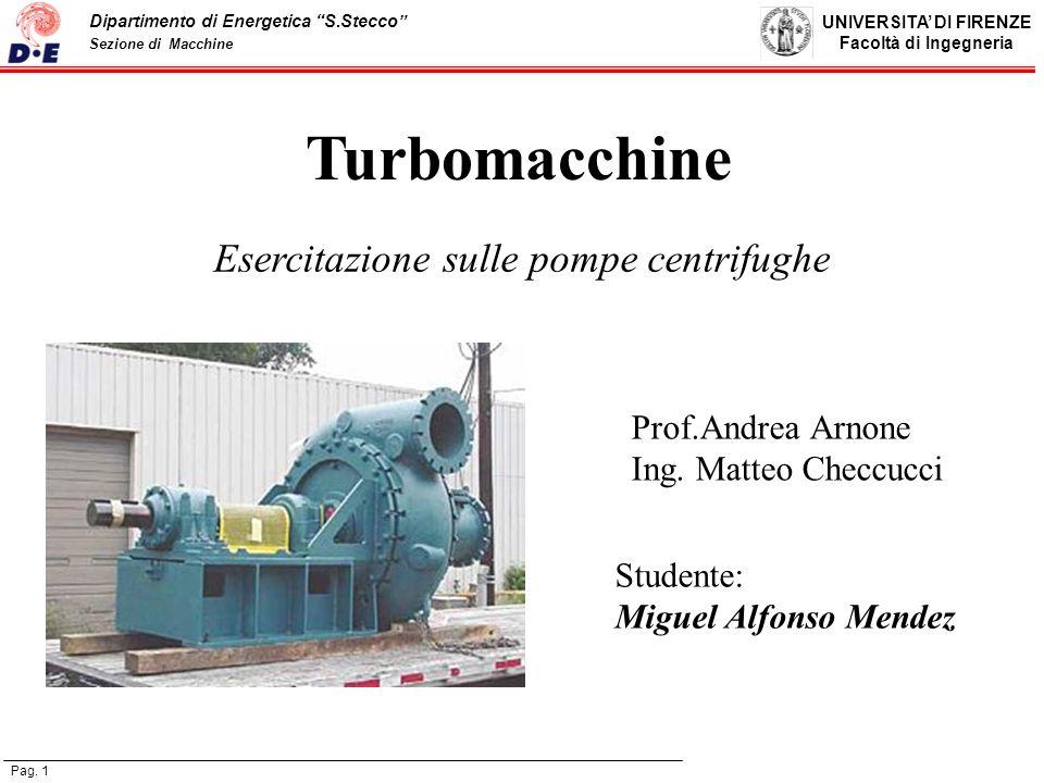 Esercitazione sulle pompe centrifughe