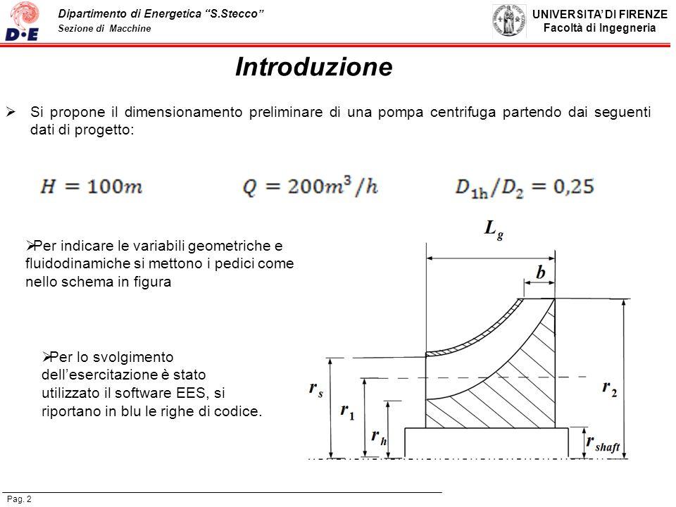 Introduzione Si propone il dimensionamento preliminare di una pompa centrifuga partendo dai seguenti dati di progetto: