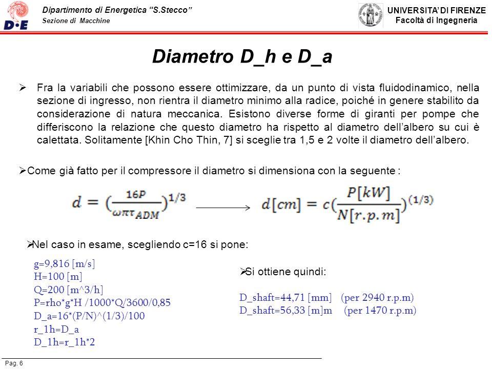 Diametro D_h e D_a