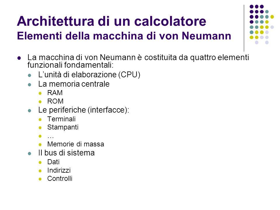 Architettura di un calcolatore Elementi della macchina di von Neumann