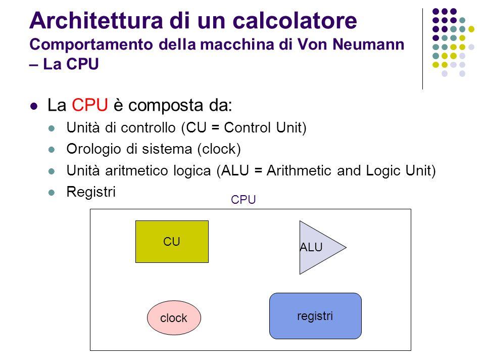 Architettura di un calcolatore Comportamento della macchina di Von Neumann – La CPU