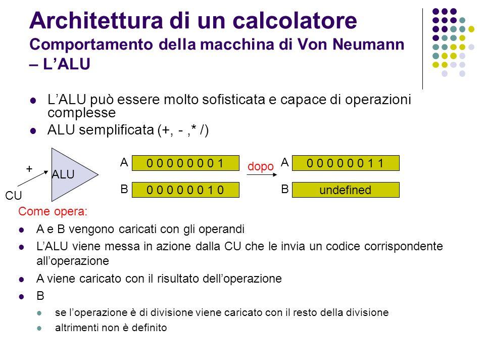 Architettura di un calcolatore Comportamento della macchina di Von Neumann – L'ALU