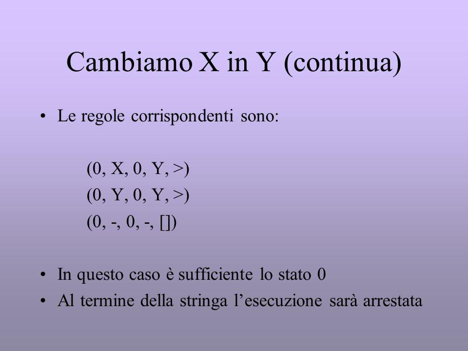 Cambiamo X in Y (continua)
