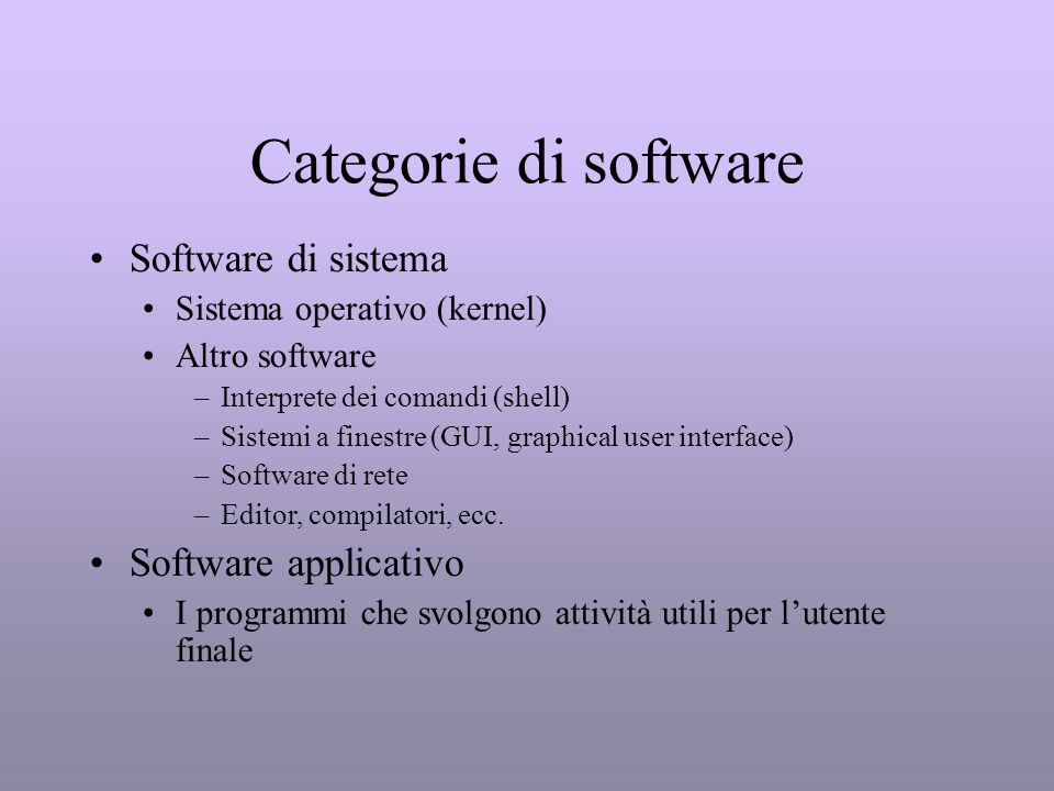 Categorie di software Software di sistema Software applicativo