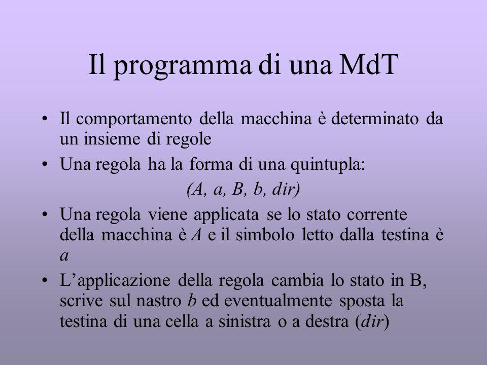 Il programma di una MdT Il comportamento della macchina è determinato da un insieme di regole. Una regola ha la forma di una quintupla: