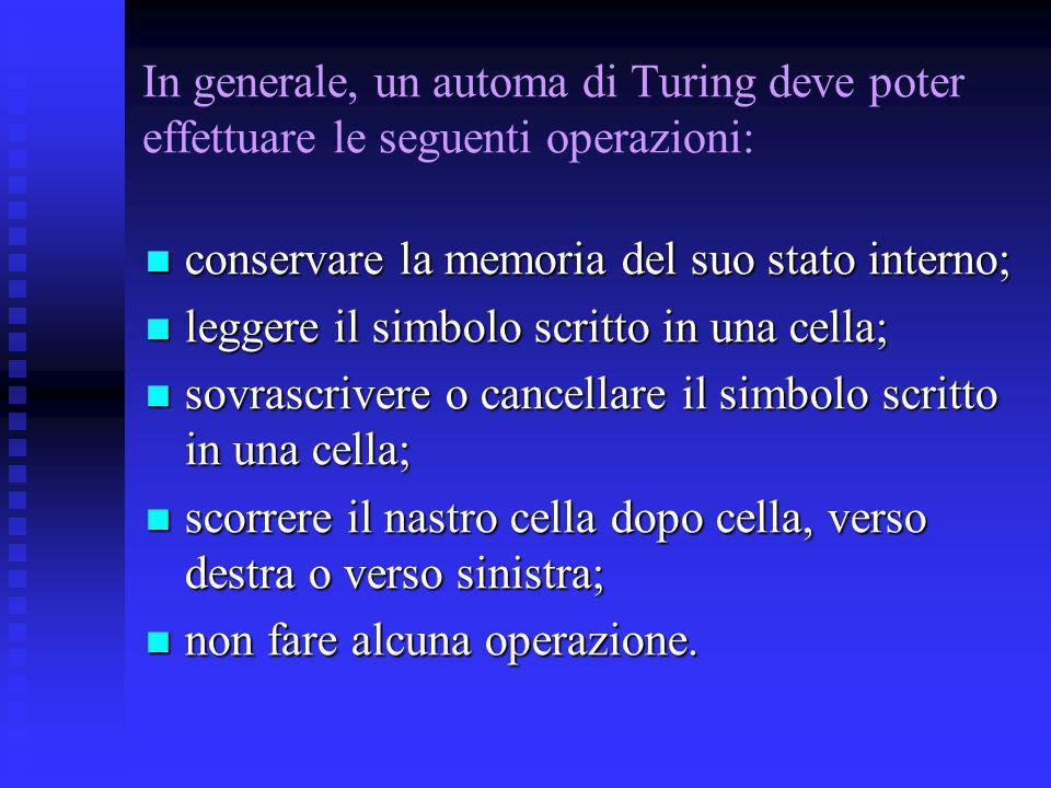 In generale, un automa di Turing deve poter effettuare le seguenti operazioni: