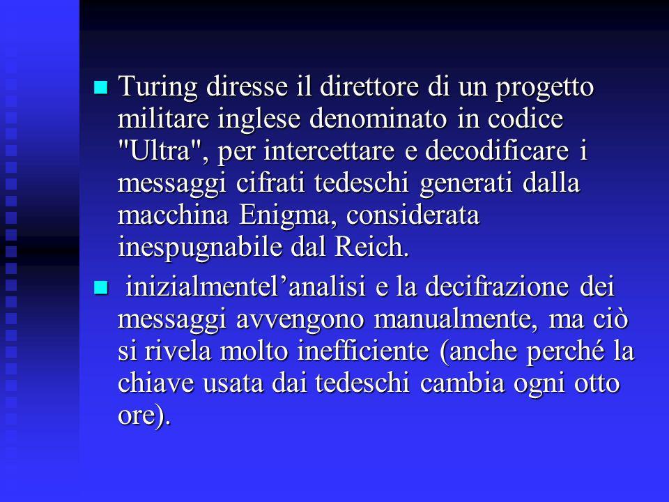 Turing diresse il direttore di un progetto militare inglese denominato in codice Ultra , per intercettare e decodificare i messaggi cifrati tedeschi generati dalla macchina Enigma, considerata inespugnabile dal Reich.