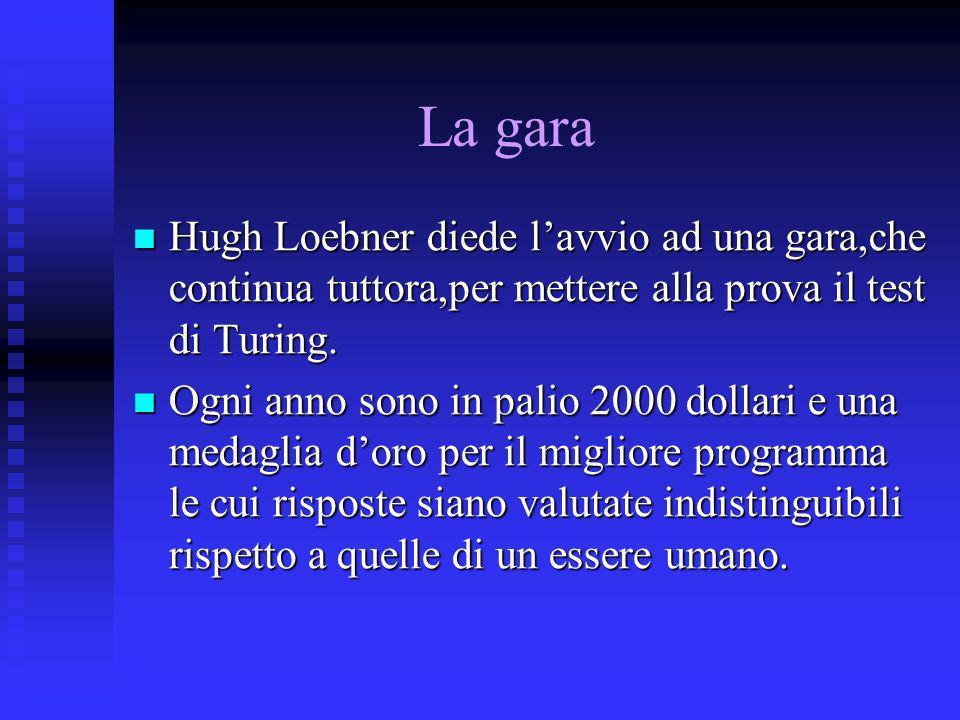 La gara Hugh Loebner diede l'avvio ad una gara,che continua tuttora,per mettere alla prova il test di Turing.