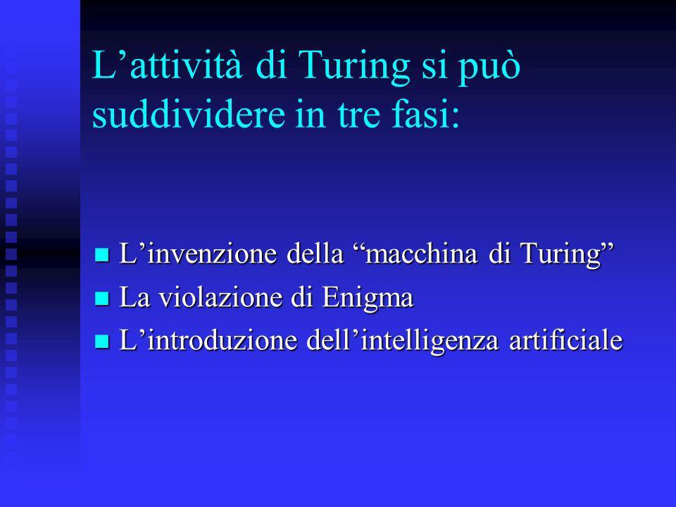 L'attività di Turing si può suddividere in tre fasi: