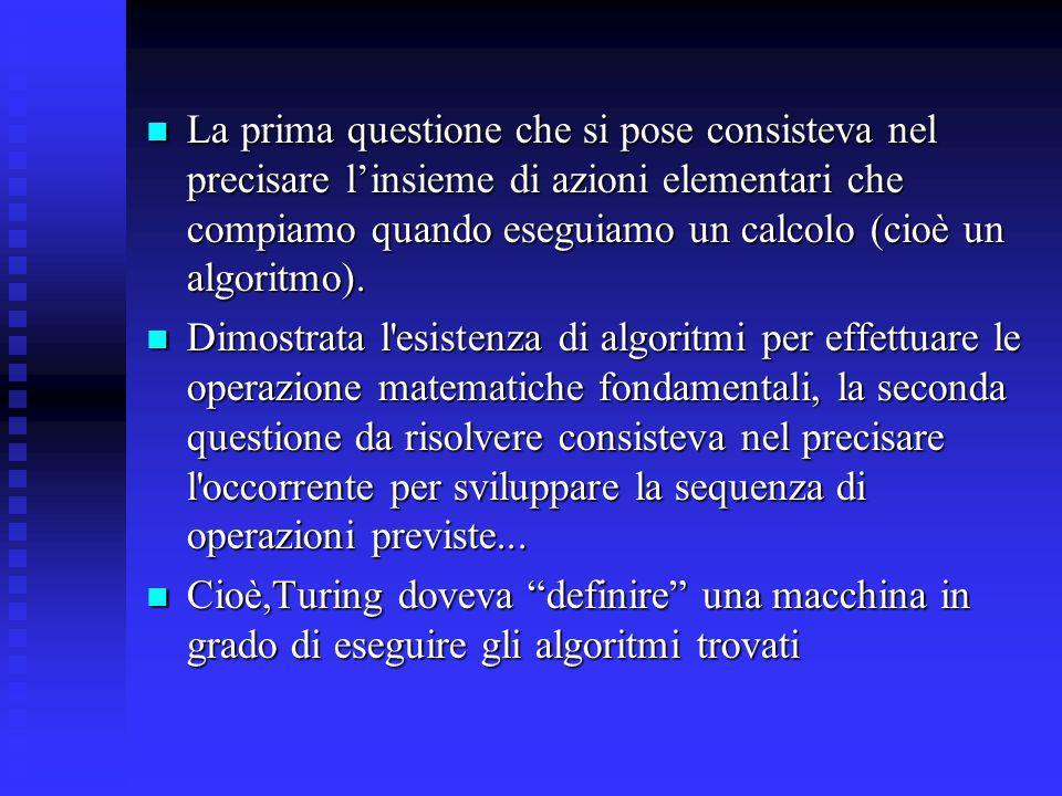 La prima questione che si pose consisteva nel precisare l'insieme di azioni elementari che compiamo quando eseguiamo un calcolo (cioè un algoritmo).