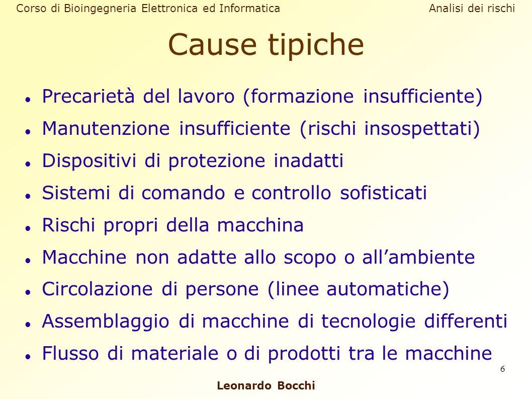 Corso di Bioingegneria Elettronica ed Informatica Analisi dei rischi