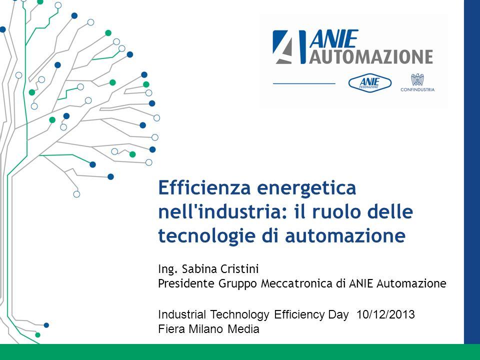 Efficienza energetica nell industria: il ruolo delle tecnologie di automazione