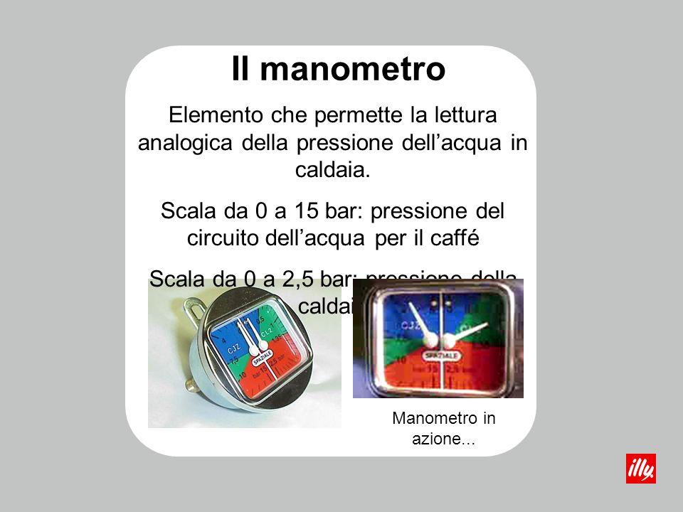 Il manometro Elemento che permette la lettura analogica della pressione dell'acqua in caldaia.