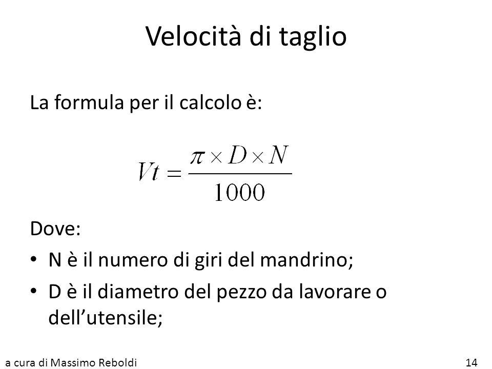 Velocità di taglio La formula per il calcolo è: Dove: