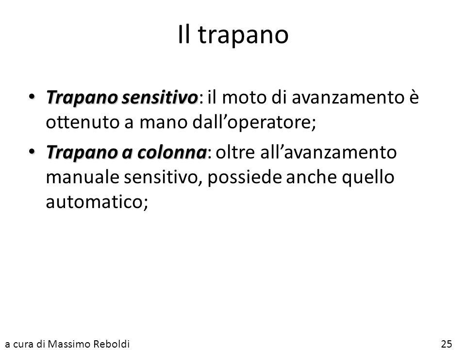 Il trapano Trapano sensitivo: il moto di avanzamento è ottenuto a mano dall'operatore;