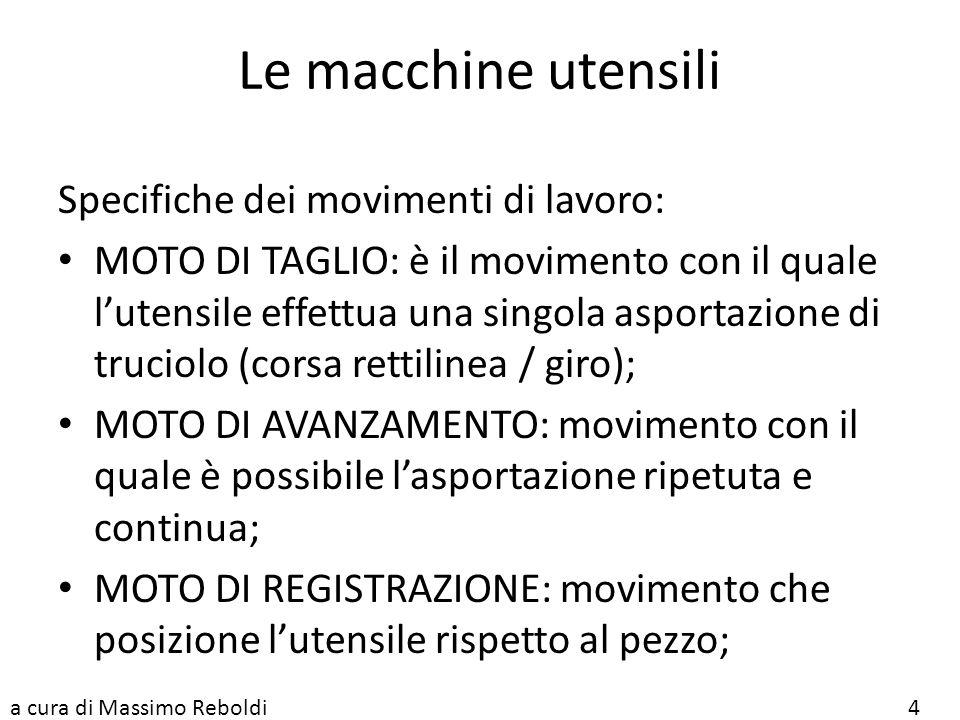 Le macchine utensili Specifiche dei movimenti di lavoro:
