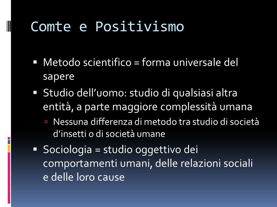 Comte e Positivismo Metodo scientifico = forma universale del sapere