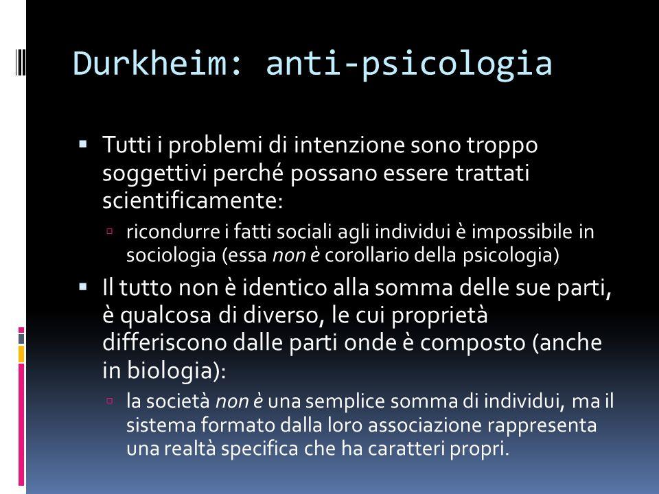 Durkheim: anti-psicologia