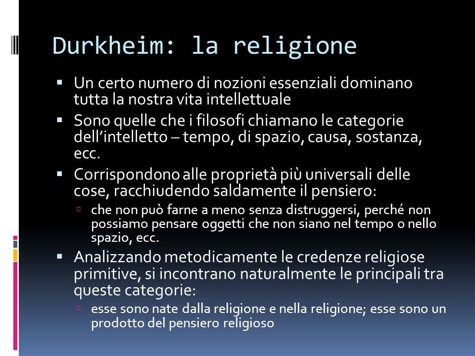 Durkheim: la religione