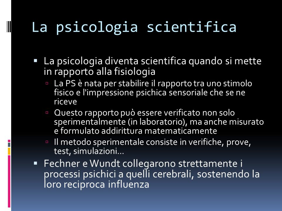 La psicologia scientifica