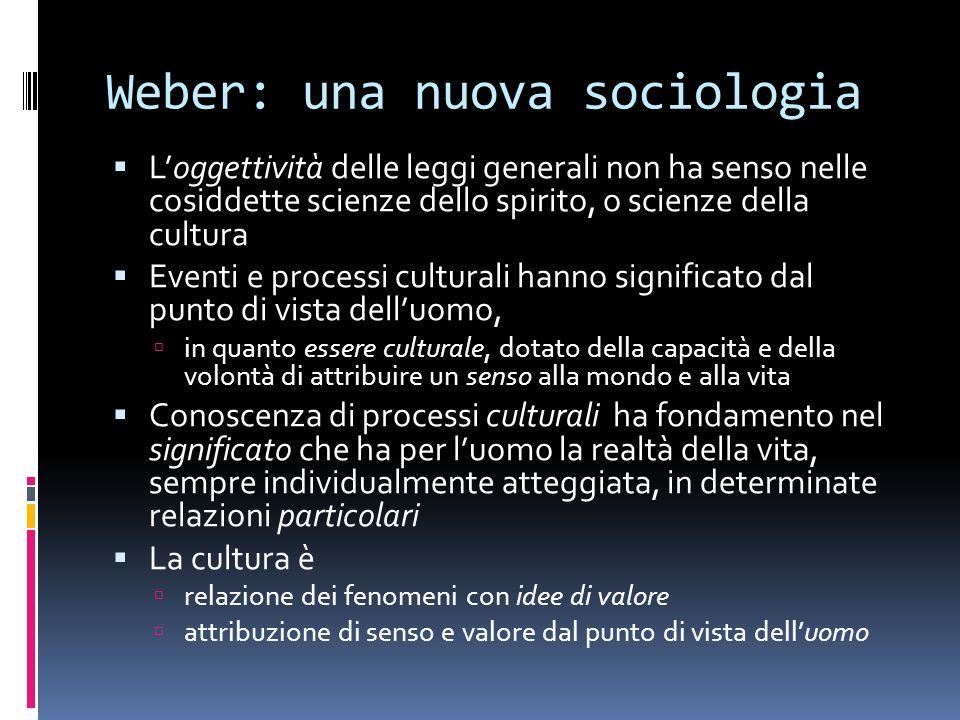 Weber: una nuova sociologia