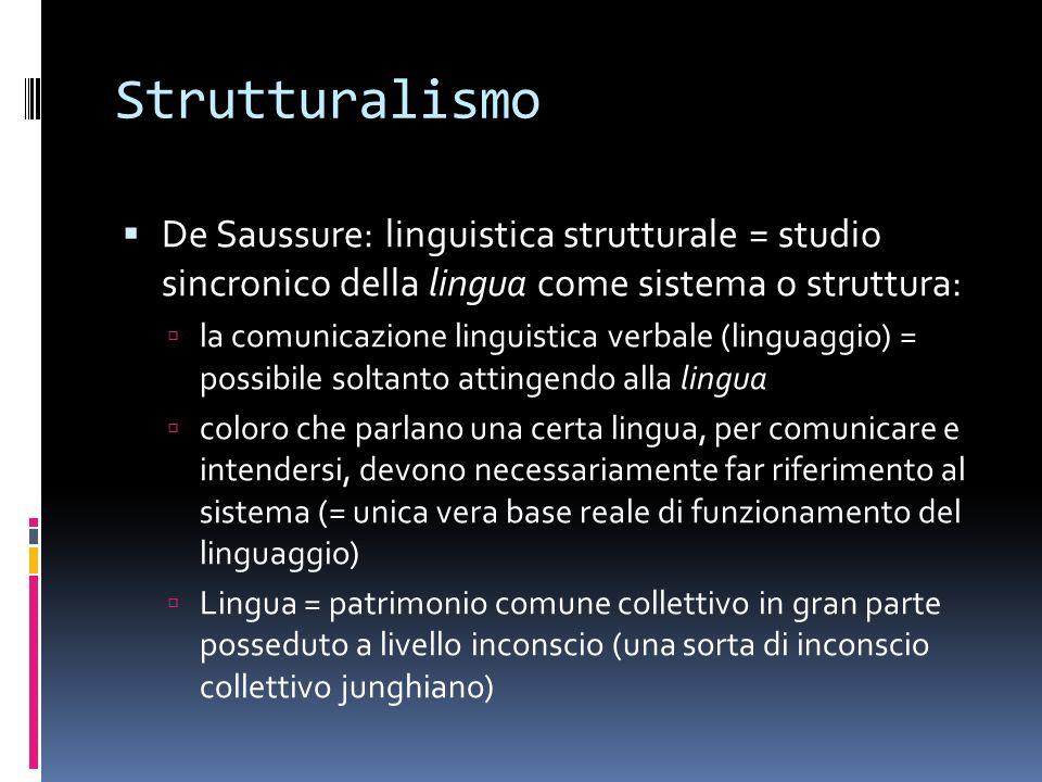 Strutturalismo De Saussure: linguistica strutturale = studio sincronico della lingua come sistema o struttura:
