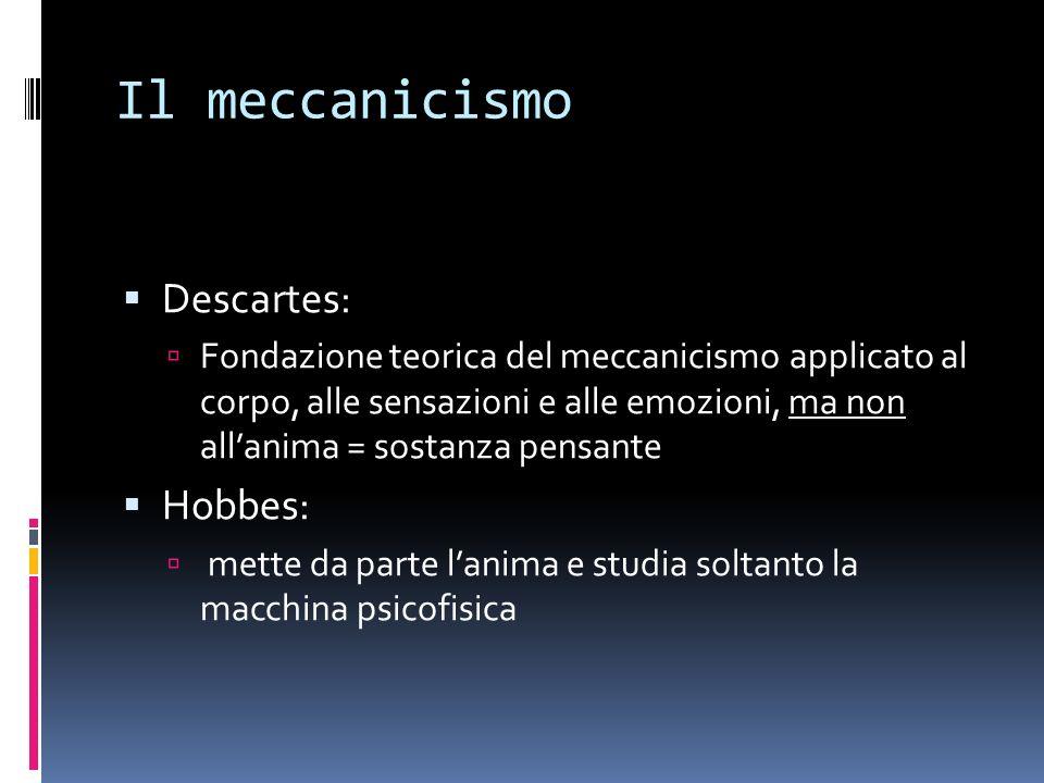 Il meccanicismo Descartes: Hobbes:
