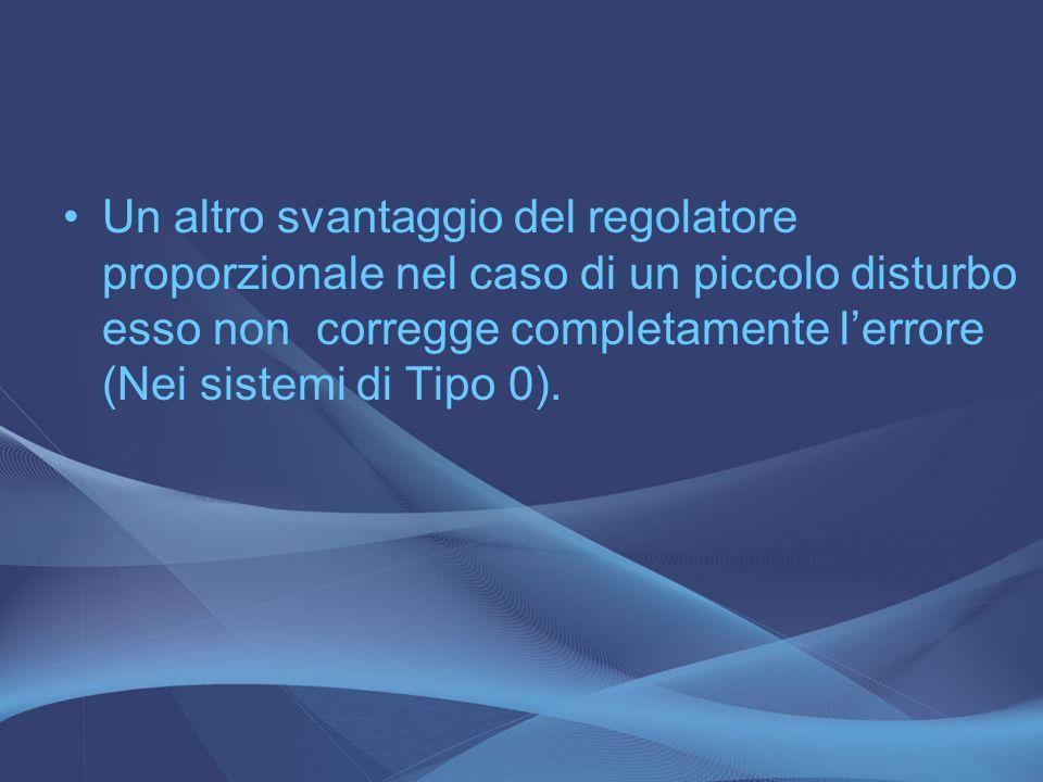 Un altro svantaggio del regolatore proporzionale nel caso di un piccolo disturbo esso non corregge completamente l'errore (Nei sistemi di Tipo 0).