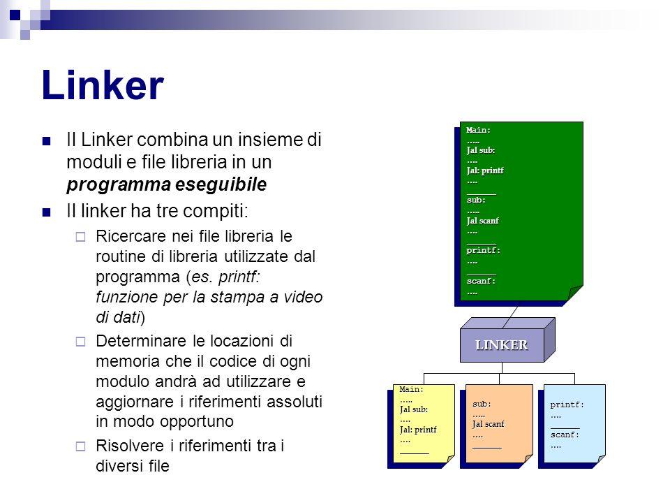 Linker Il Linker combina un insieme di moduli e file libreria in un programma eseguibile. Il linker ha tre compiti:
