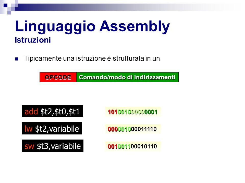Linguaggio Assembly Istruzioni
