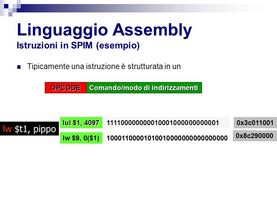 Linguaggio Assembly Istruzioni in SPIM (esempio)