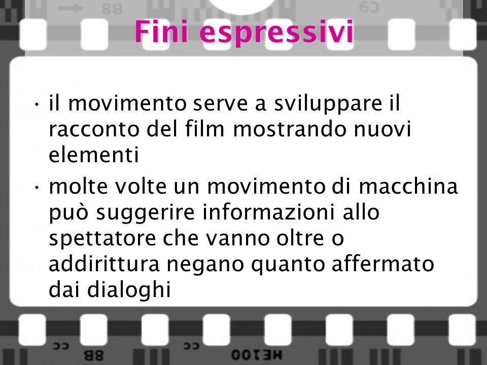 Fini espressivi il movimento serve a sviluppare il racconto del film mostrando nuovi elementi.
