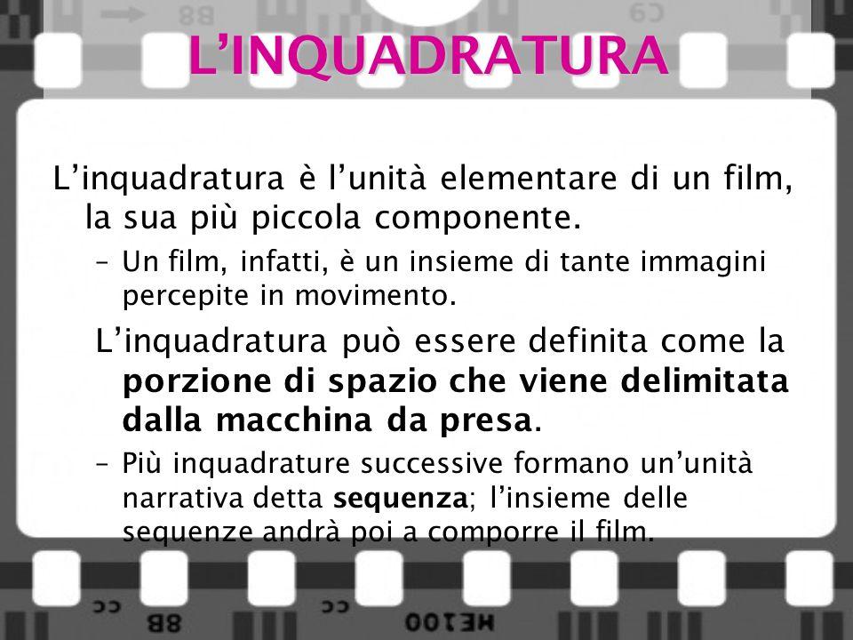 L'INQUADRATURA L'inquadratura è l'unità elementare di un film, la sua più piccola componente.
