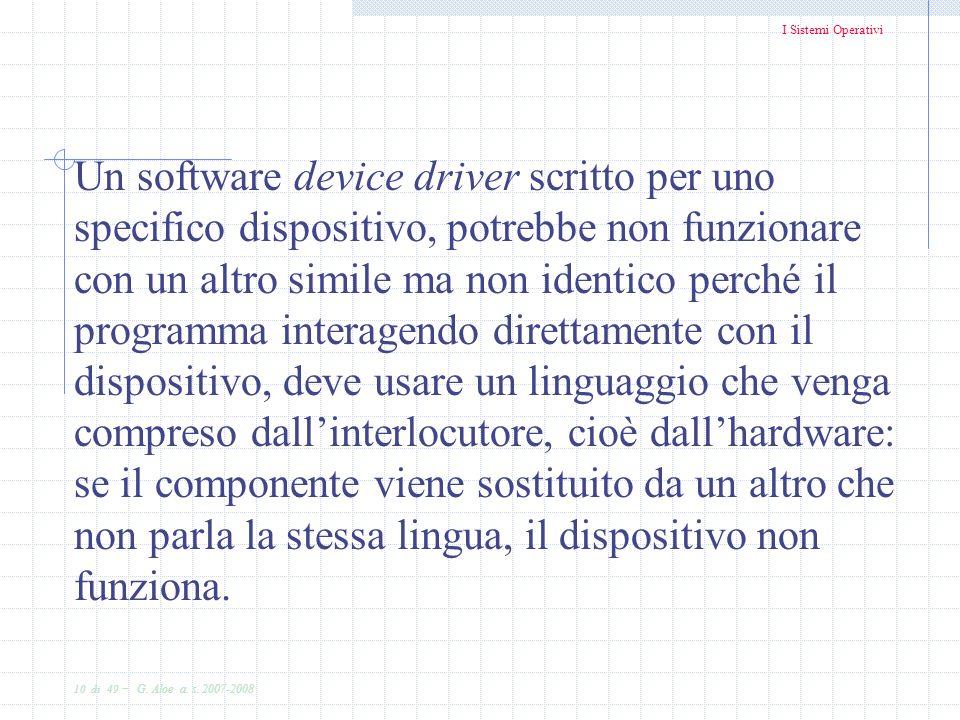 Un software device driver scritto per uno specifico dispositivo, potrebbe non funzionare con un altro simile ma non identico perché il programma interagendo direttamente con il dispositivo, deve usare un linguaggio che venga compreso dall'interlocutore, cioè dall'hardware: se il componente viene sostituito da un altro che non parla la stessa lingua, il dispositivo non funziona.