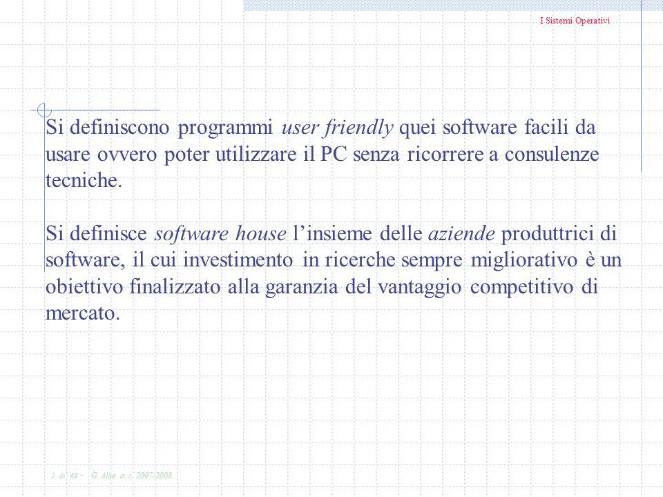 Si definiscono programmi user friendly quei software facili da usare ovvero poter utilizzare il PC senza ricorrere a consulenze tecniche.