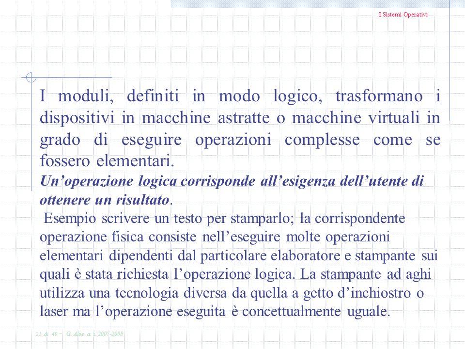I moduli, definiti in modo logico, trasformano i dispositivi in macchine astratte o macchine virtuali in grado di eseguire operazioni complesse come se fossero elementari.