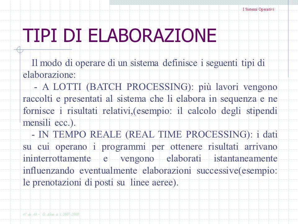 TIPI DI ELABORAZIONE Il modo di operare di un sistema definisce i seguenti tipi di elaborazione: