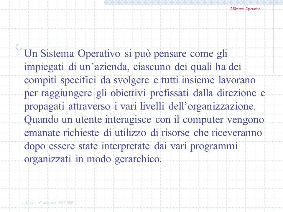 Un Sistema Operativo si può pensare come gli impiegati di un'azienda, ciascuno dei quali ha dei compiti specifici da svolgere e tutti insieme lavorano per raggiungere gli obiettivi prefissati dalla direzione e propagati attraverso i vari livelli dell'organizzazione.