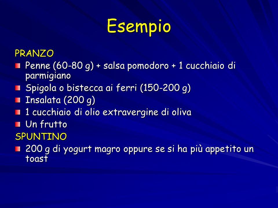 Esempio PRANZO. Penne (60-80 g) + salsa pomodoro + 1 cucchiaio di parmigiano. Spigola o bistecca ai ferri (150-200 g)