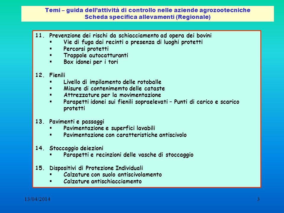 Temi – guida dell'attività di controllo nelle aziende agrozootecniche Scheda specifica allevamenti (Regionale)