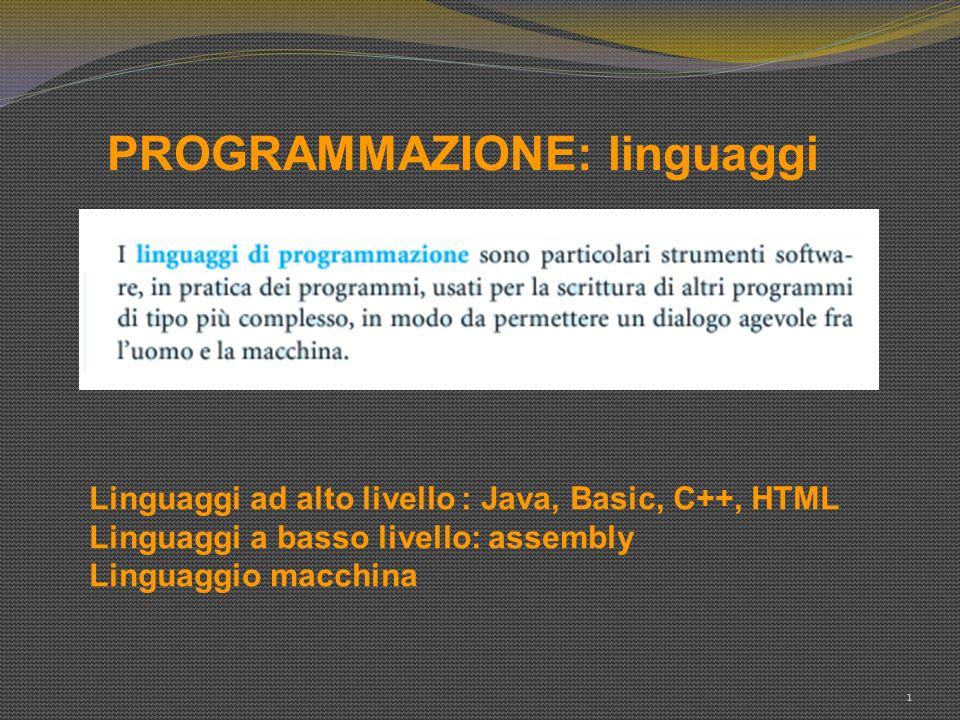 PROGRAMMAZIONE: linguaggi