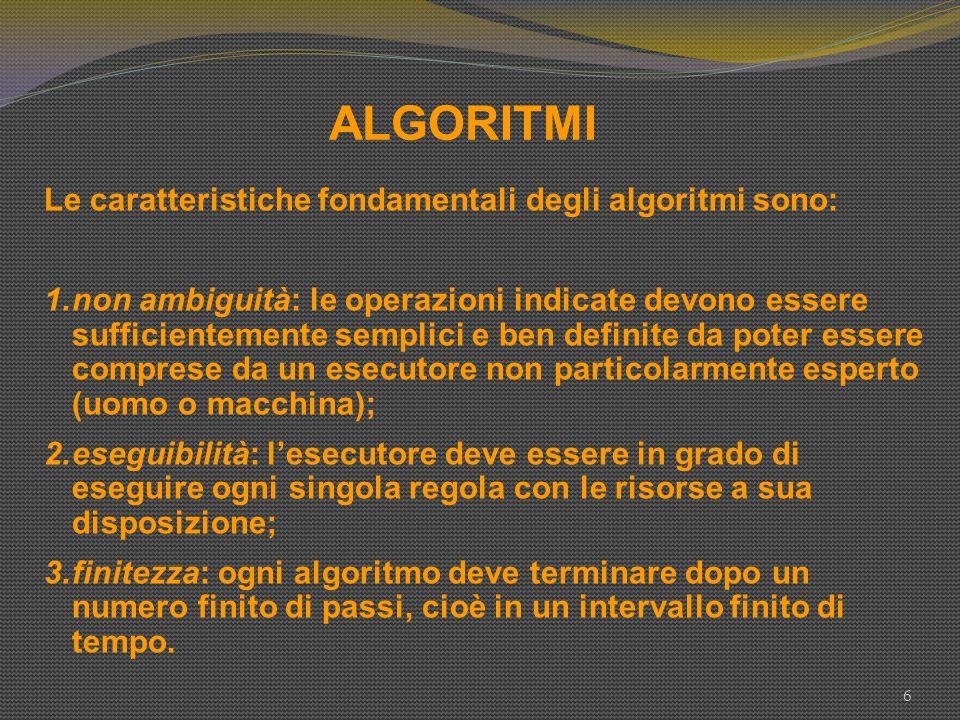 ALGORITMI Le caratteristiche fondamentali degli algoritmi sono: