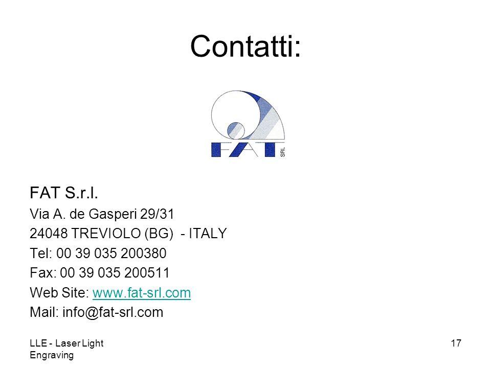 Contatti: FAT S.r.l. Via A. de Gasperi 29/31