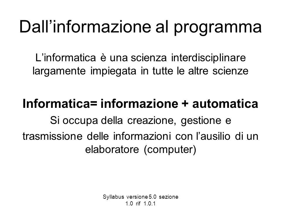 Dall'informazione al programma