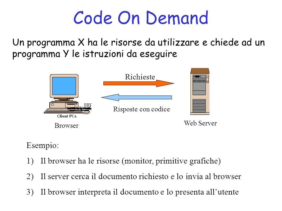 Code On Demand Un programma X ha le risorse da utilizzare e chiede ad un programma Y le istruzioni da eseguire.