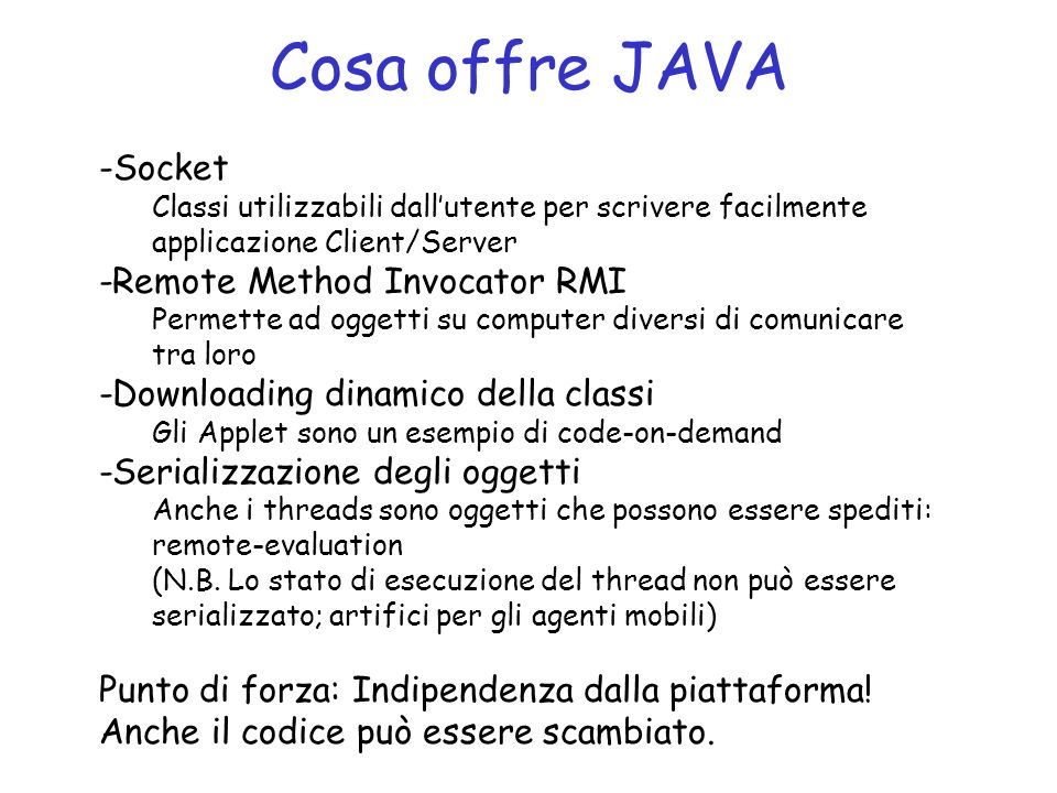 Cosa offre JAVA Socket -Remote Method Invocator RMI