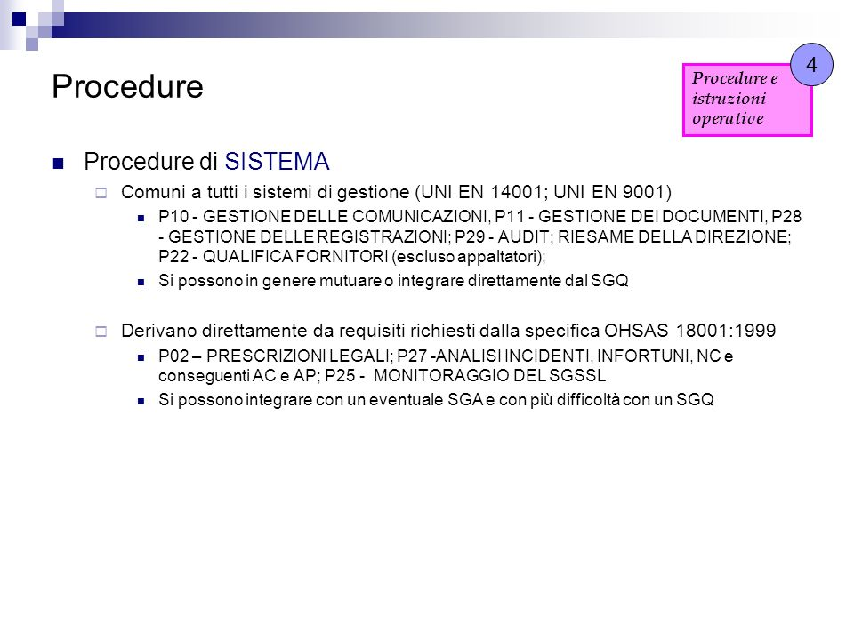 Procedure Procedure di SISTEMA 4